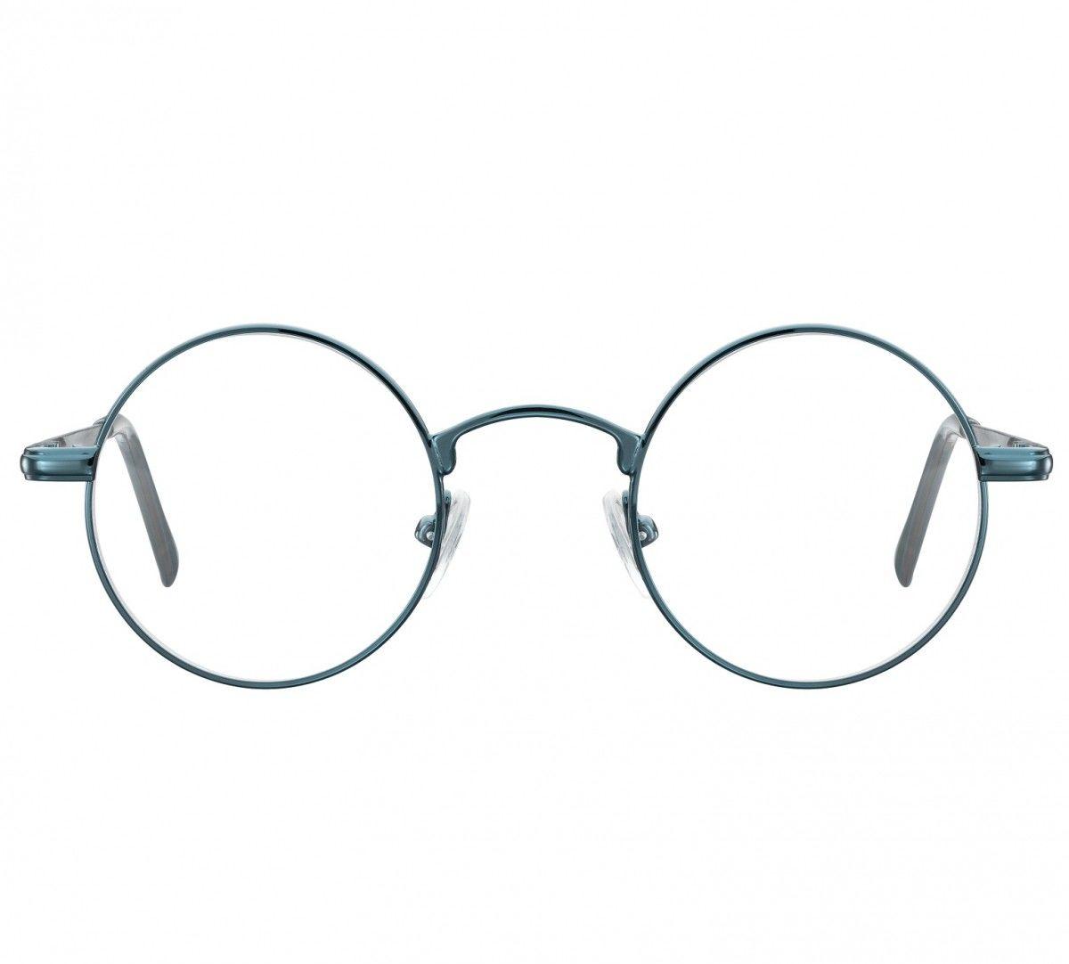 Okulary dziecięce zerówki okrągłe lenonki M5D niebieskawo-zielone