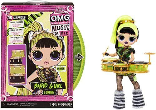 LOL Surprise OMG Remix Rock BHAD GIRL Lalka Modowa z 15 Niespodziankami - Z Perkusją, Strojem, Butami, Szczotką, Stojakiem, Zeszytem Tekstów i Opakowaniem Gramofonu - Dla Dzieci Od 4 Lat