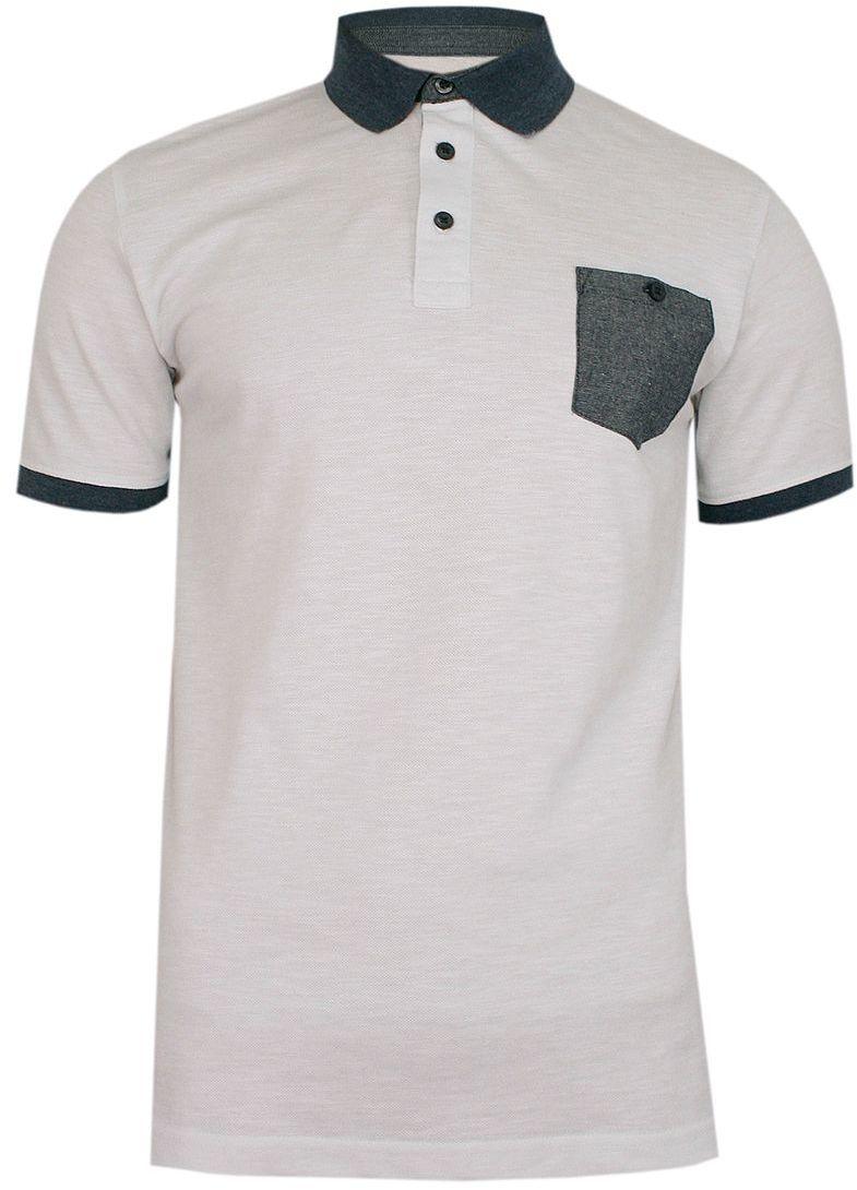 Biała Elegancka Koszulka POLO, Męska, Krótki Rękaw -PAKO JEANS- T-shirt z Szarą Kieszonką TSPJNSPOLOROCKYbi
