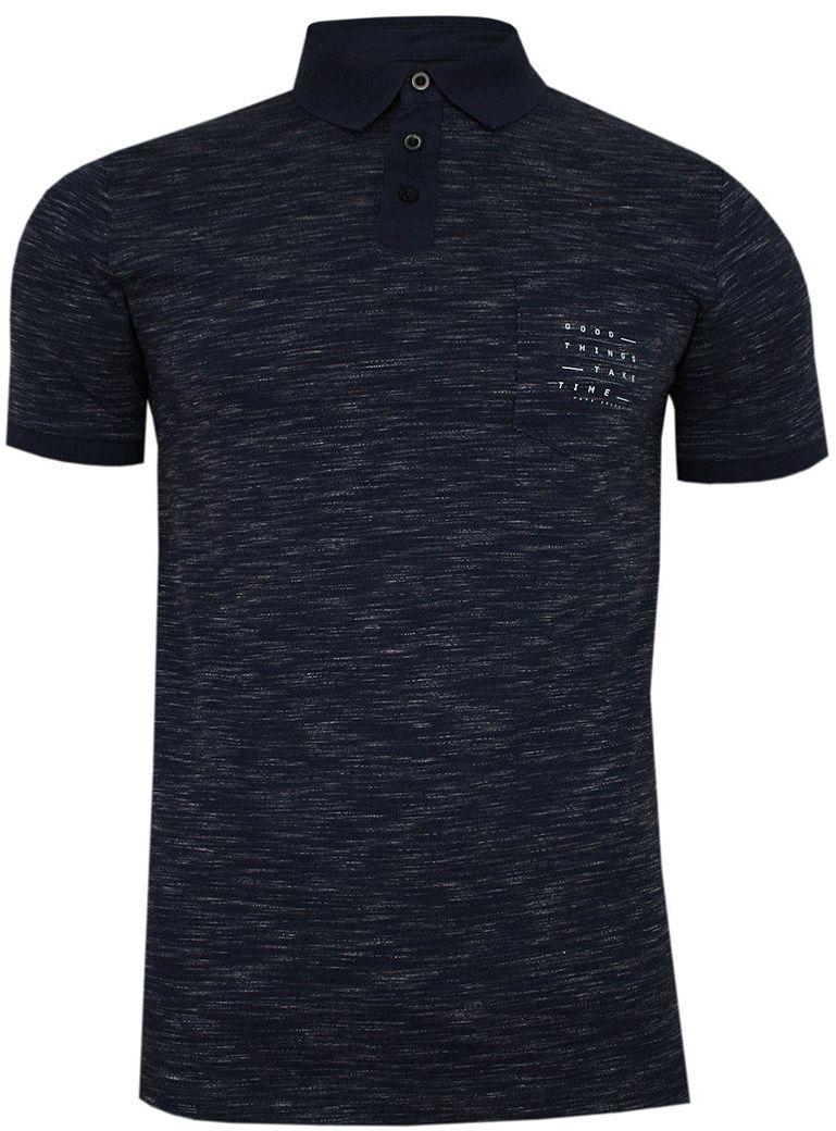 Granatowa Melanżowa Koszulka POLO, Męska, Krótki Rękaw -PAKO JEANS- T-shirt z Kieszonką TSPJNSPOLOPATROLgr