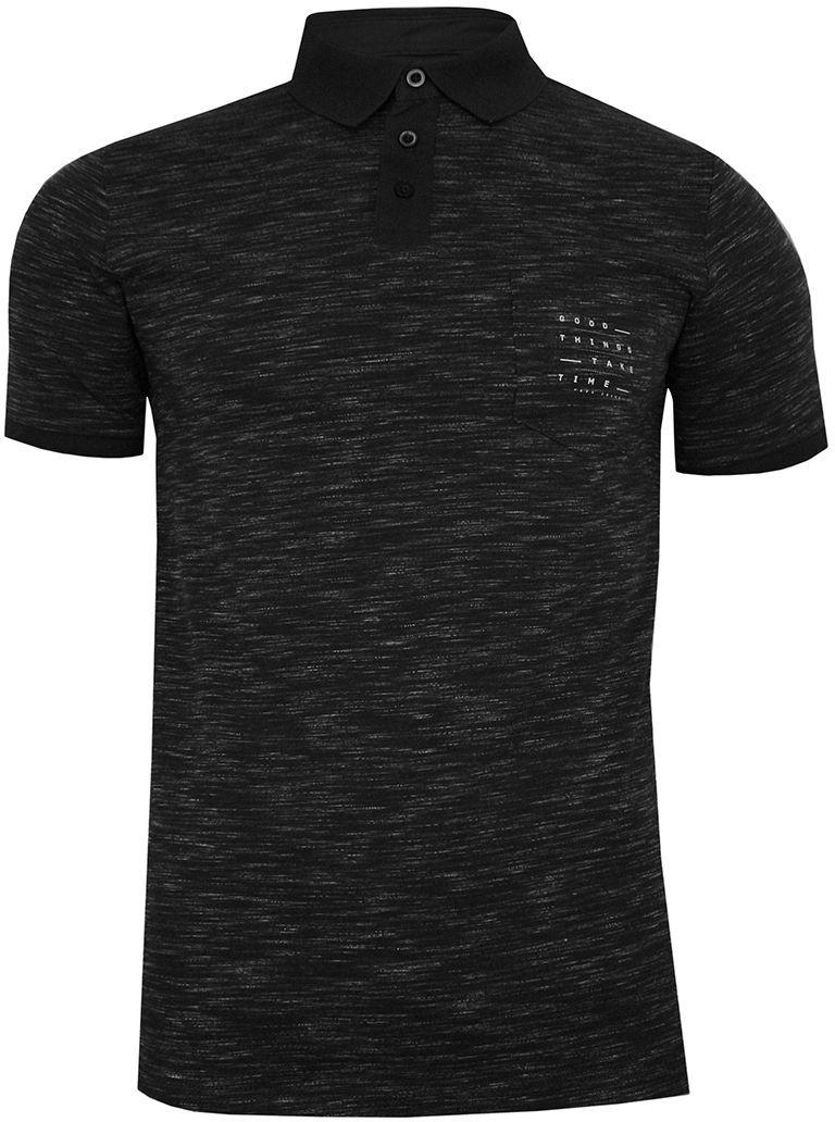 Czarna Melanżowa Koszulka POLO, Męska, Krótki Rękaw -PAKO JEANS- T-shirt z Kołnierzykiem TSPJNSPOLOPATROLcz
