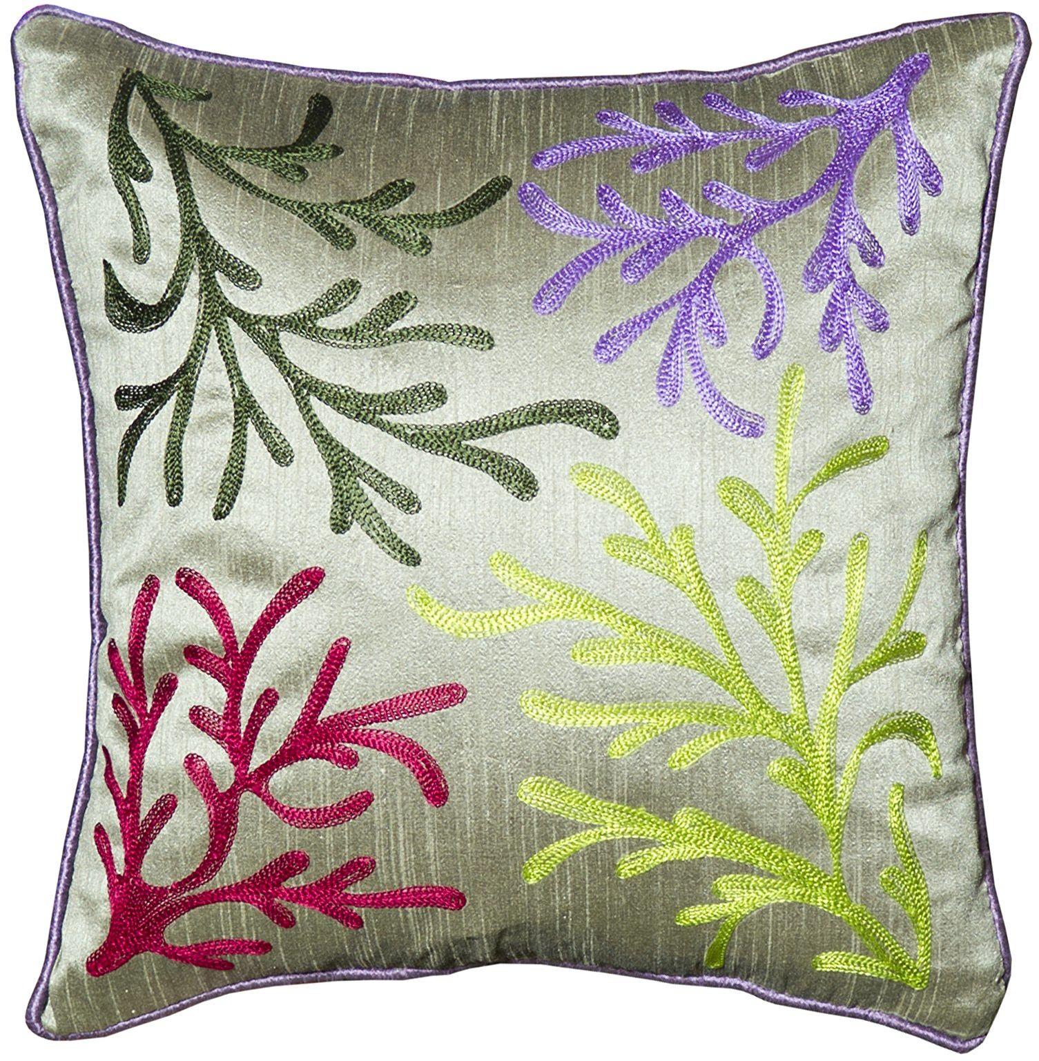 Poduszka z juty & Co Delhi z kolorowym haftem, 40 x 40 cm, wiskoza, wielokolorowa