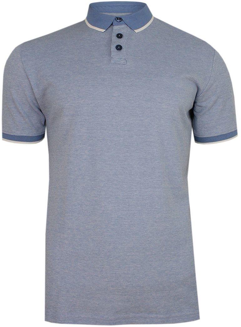 Niebieska Koszulka POLO, Męska, Krótki Rękaw -PAKO JEANS- T-shirt z Kołnierzykiem TSPJNSPOLOLOGICnb