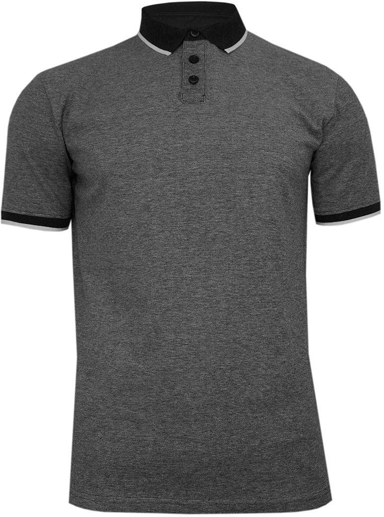Popielato-Czarna Koszulka POLO z Lamówką, Męska, Krótki Rękaw -PAKO JEANS- T-shirt z Kołnierzykiem TSPJNSPOLOLOGICcz