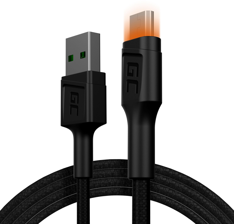 Kabel Green Cell GC Ray USB - Micro USB 120cm, pomarańczowy LED, szybkie ładowanie Ultra Charge, QC3.0