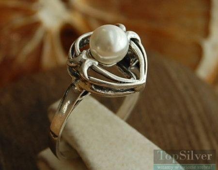 Sagres - srebrny pierścionek z perłą