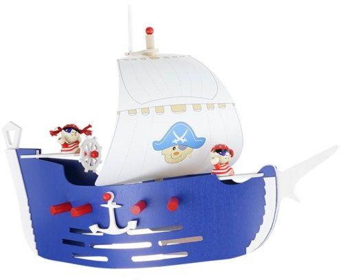 Elobra 125779 lampa wisząca statek piracki lampa sufitowa pokój dziecięcy drewno, ciemnoniebieska