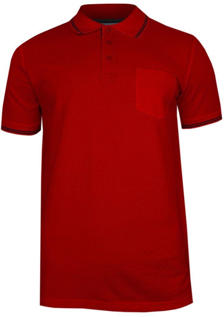 Czerwona Koszulka POLO z Lamówką, Męska, Krótki Rękaw -PAKO JEANS- T-shirt, z Kieszonką TSPJNSPOLOCITYcr