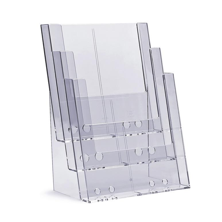 Stojak na ulotki kaskadowy 3 x A4 plexi odlewany 3C230