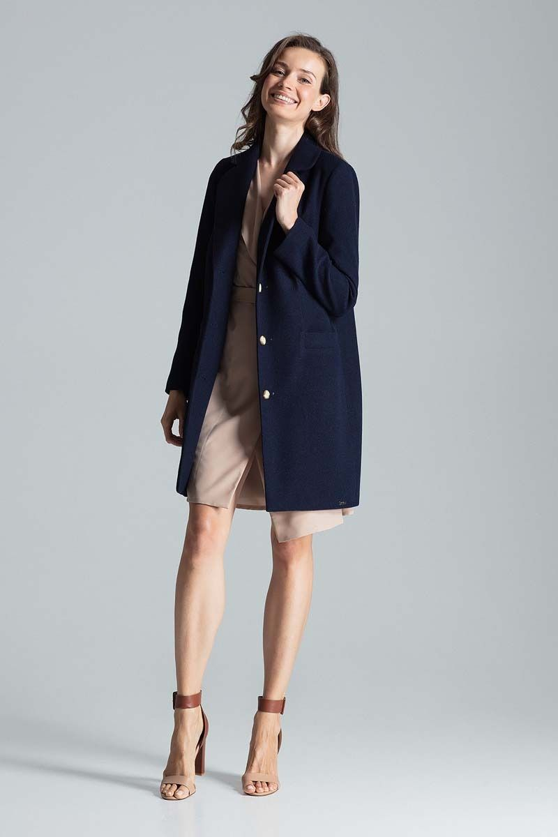 Granatowy jesienny płaszcz o kroju dyplomatki
