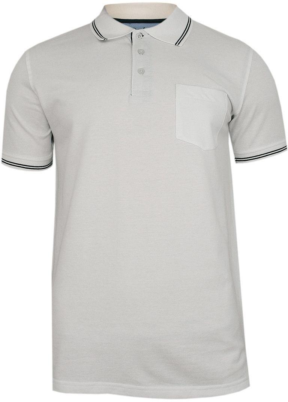 Biała Koszulka POLO z Lamówką, Męska, Krótki Rękaw -PAKO JEANS- T-shirt, z Kieszonką TSPJNSPOLOCITYbi