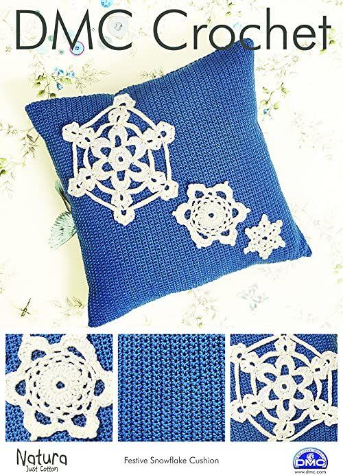 DMC Świąteczna poduszka płatek śniegu szydełkowany wzór, kartka, wielokolorowa, 30 x 21 x 0,5 cm