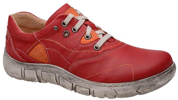 Półbuty KACPER 2-1185-181+178 Czerwone damskie codzienne - Czerwony