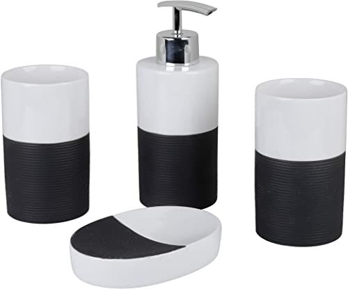 axentia Zestaw łazienkowy, szary/biały, ok. 22 x 18,6 x 8,6 cm