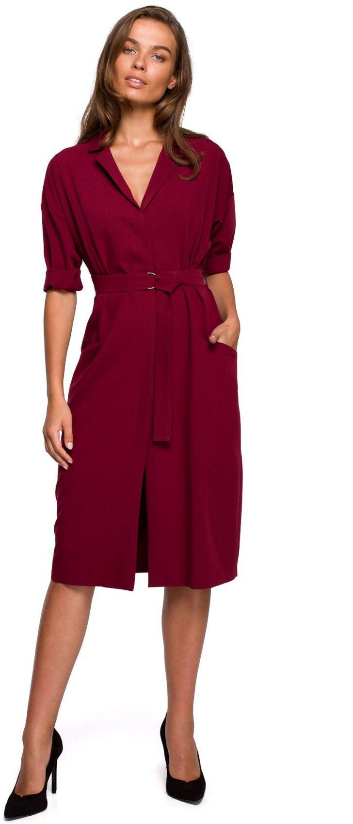 S230 Sukienka z dużymi kieszeniami - bordowa