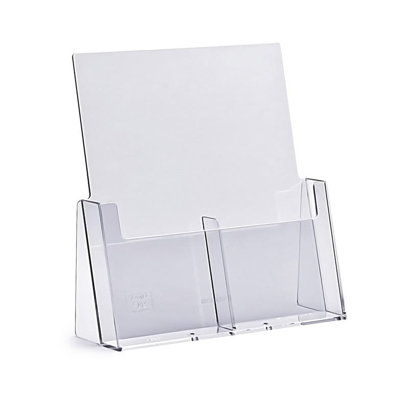 Stojak na ulotki 2 x DL / A6 plexi odlewany 2C112