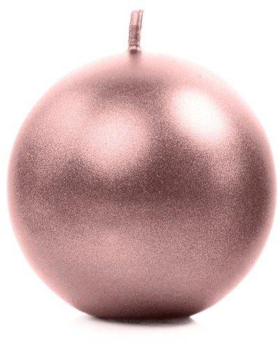 Świeca kula rose gold 8cm metaliczna 1 szt SKUMET80-019R