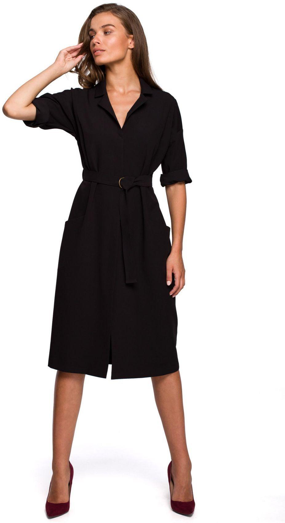 S230 Sukienka z dużymi kieszeniami - czarna
