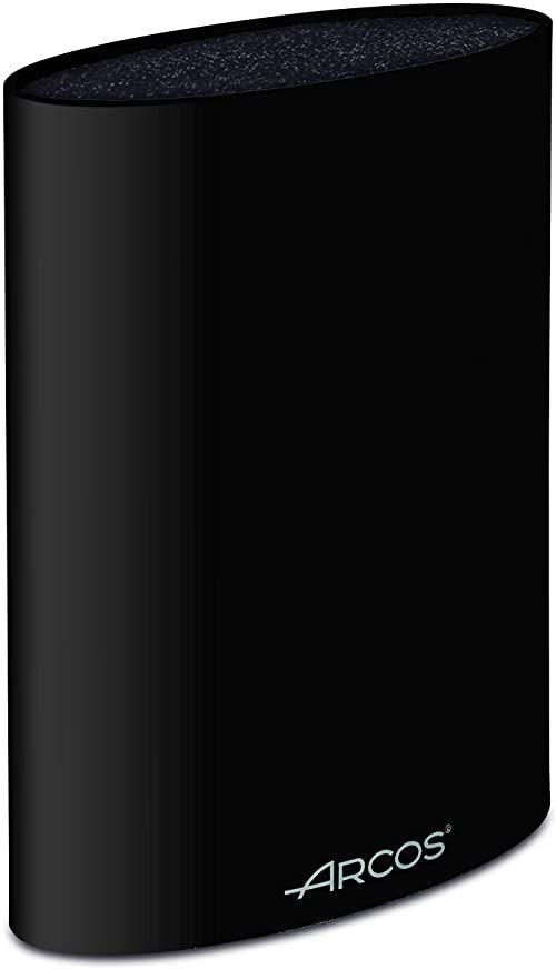 Arcos 794500 uniwersalny blok do noży do 20 cm (7,87 cala) - wykonany z termoplastycznego elastomeru 220 x 160 x 65 mm (8,66 x 6,30 x 2,56 cala) - kolor czarny, stal nierdzewna i tworzywo sztuczne