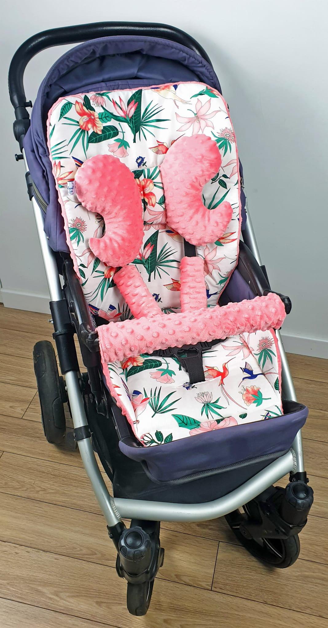 Wkładka do wózka, ochraniacze na pasy i pałąk + motylek koliberki