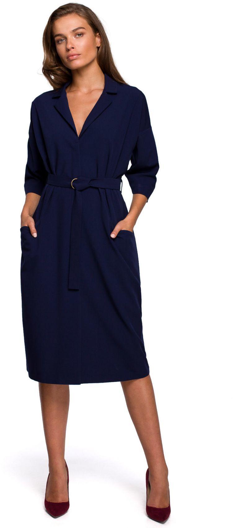S230 Sukienka z dużymi kieszeniami - granatowa