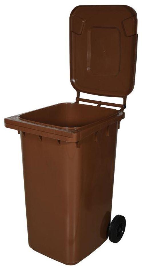 Kosz na śmieci 240 l brązowy na odpady biodegradowalne