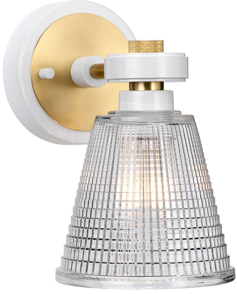 Kinkiet łazienkowy Gunnislake WAB Elstead Lighting klasyczna oprawa w kolorze biało-mosiężnym