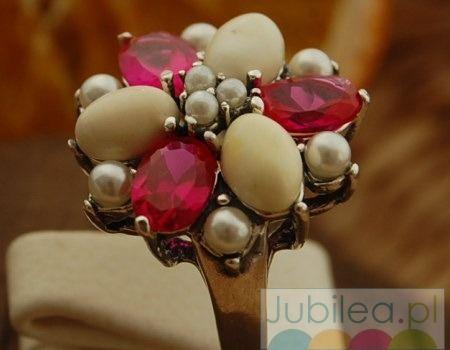 Adriano - srebrny pierścień rubiny, perły i bursztyny