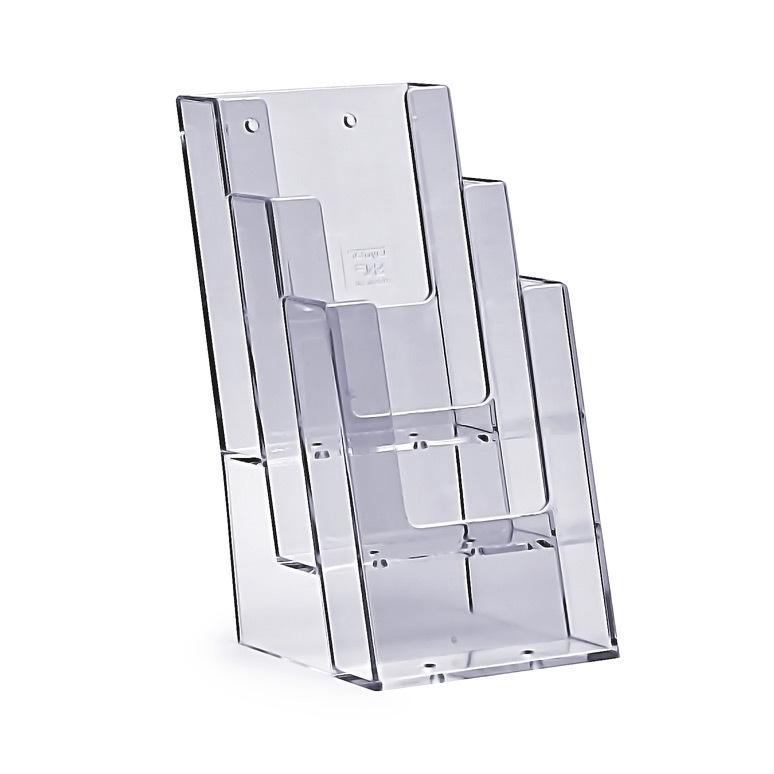 Stojak na ulotki 4 x DL / A6 plexi odlewany 4C110