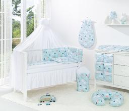 MAMO-TATO 5-el dwustronna pościel dla niemowląt BEST do łóżeczka 60x120 Łabędzie błękitne / biały - moskitiera