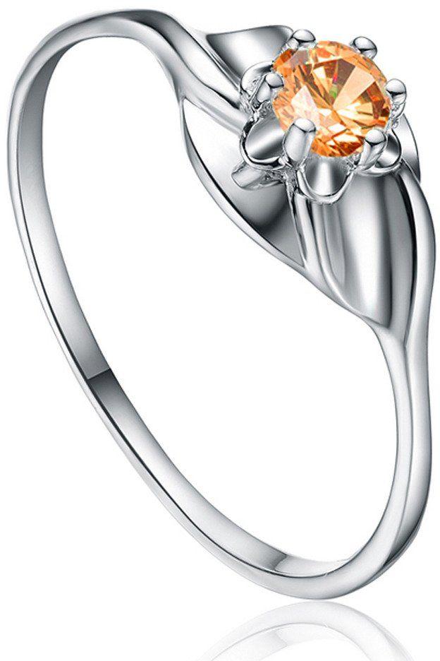 Srebrny Pierścionek z Pomarańczową Cyrkonią