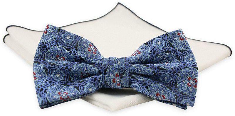 Niebieska Mucha z Białą Poszetką -CHATTIER- Męska, w Orientalny Wzór MUCH0599