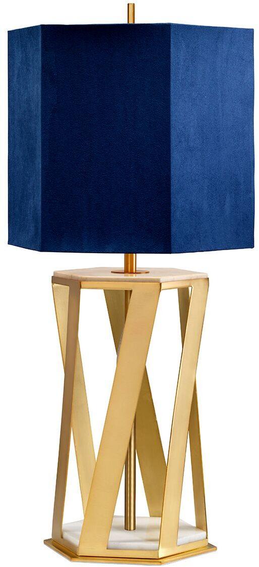 Lampa stołowa Apollo Elstead Lighting nowoczesna oprawa w kolorze granatowo-mosiężnym