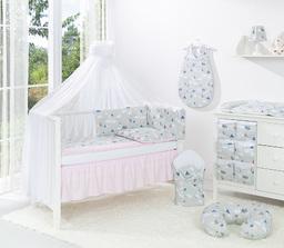 MAMO-TATO 5-el dwustronna pościel dla niemowląt BEST do łóżeczka 60x120 Łabędzie popiel / jasny róż - moskitiera