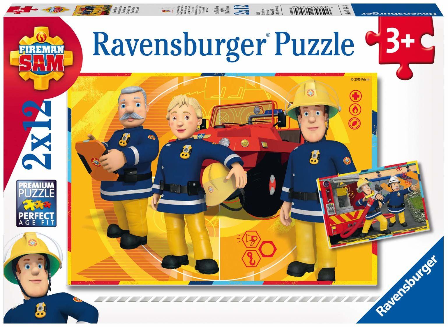 Ravensburger Puzzle 7584 Strażak Sam 2X12 Elementów Puzzle Dla Dzieci (7584) Unikalne Elementy, Technologia Softclick - Klocki Pasują Idealnie ,Sam En Intervention