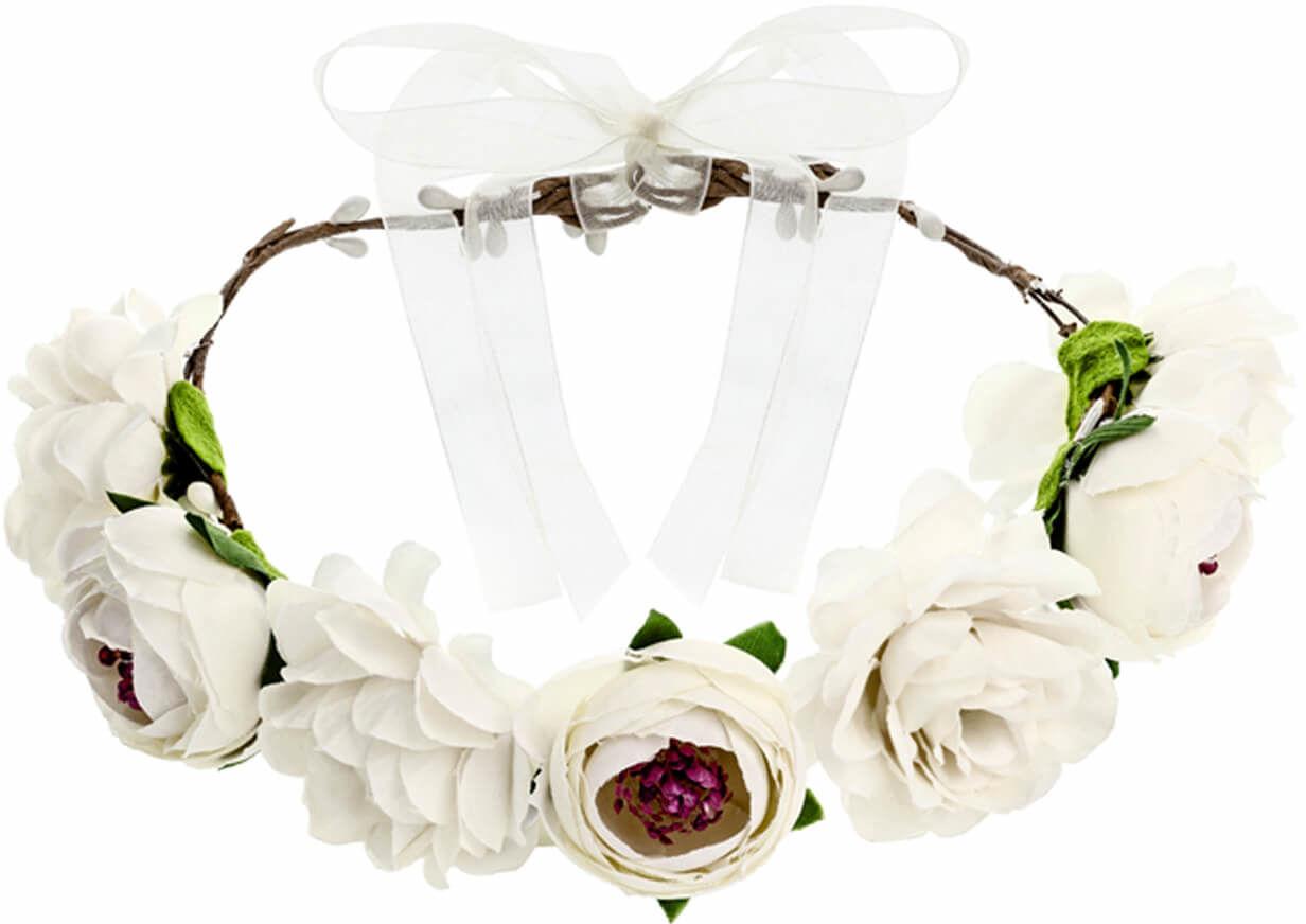 Wianek z kwiatami biały - 1 szt.