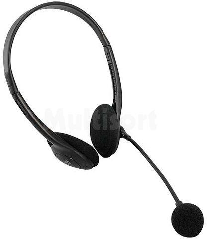 Słuchawki z mikrofonem; regulacja głośności, stereo; czarny