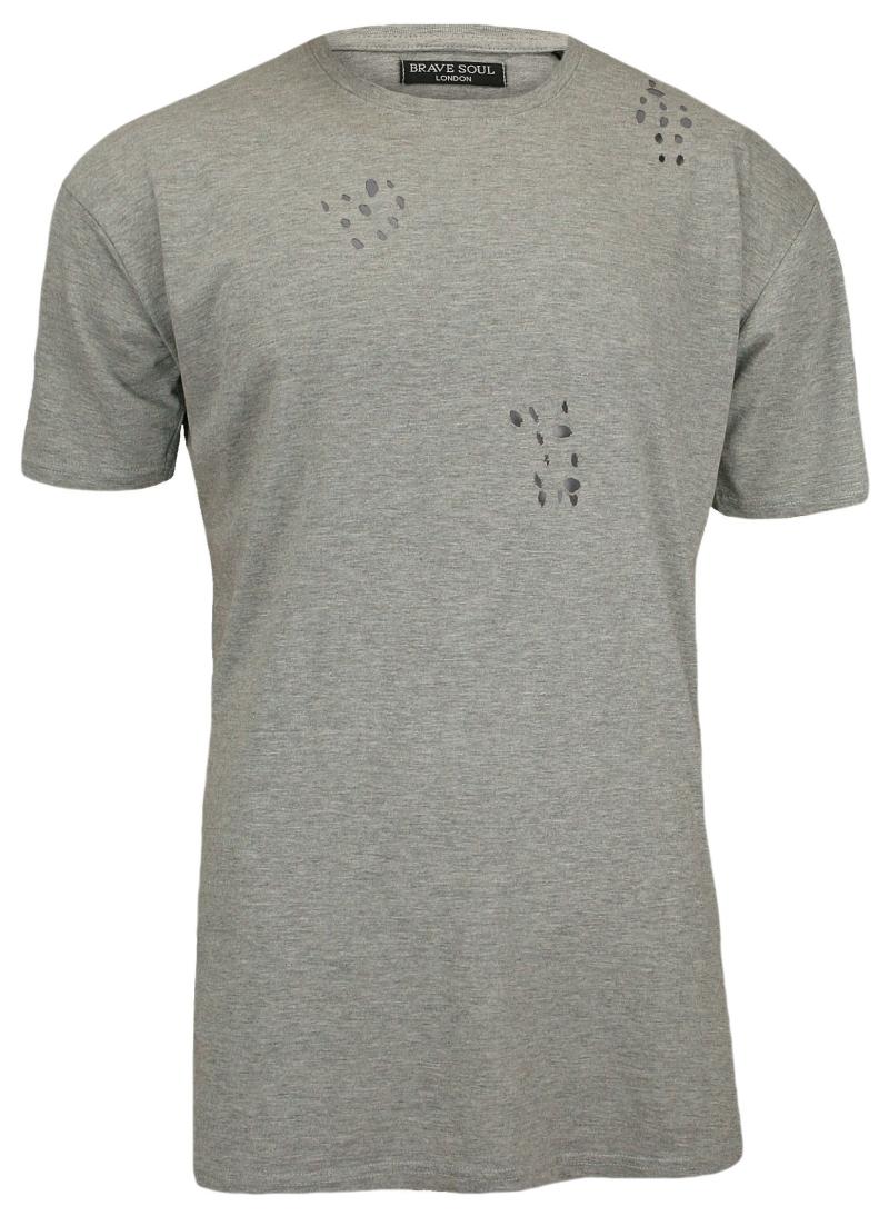 Szary, Przedłużony T-Shirt (Koszulka) z Dziurami - 100% BAWEŁNA - Brave Soul, Męski TSBRSSS17BENJIgrey