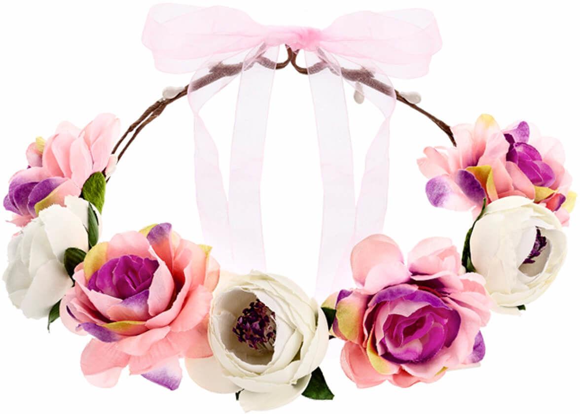 Wianek z kwiatami różowo-biały - 1 szt.