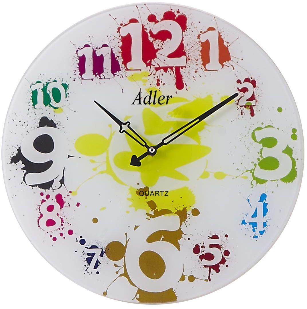 Zegar ścienny szklany kwarcowy Adler 21181
