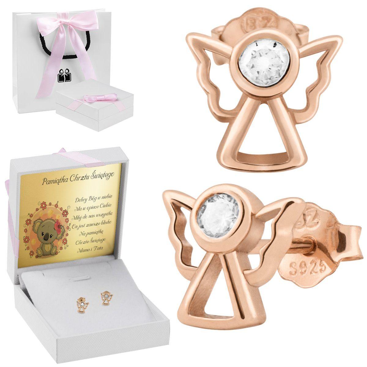 Pozłacane różowym złotem kolczyki aniołki z białą cyrkonią pr. 925