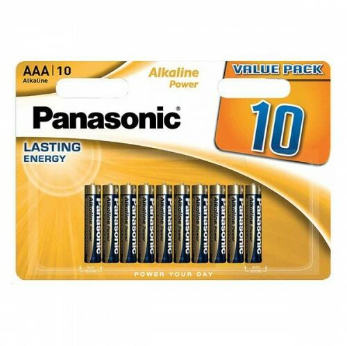 10x Bateria panasonic alkaline power LR3/AAA blister