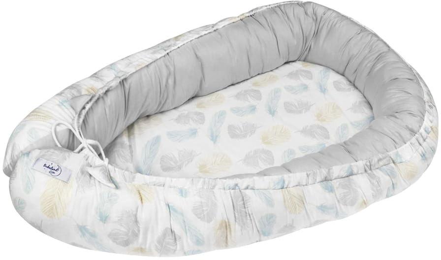 Kokon niemowlęcy / gniazdko dla noworodka - Piórka (zestaw materacyk + motylek)