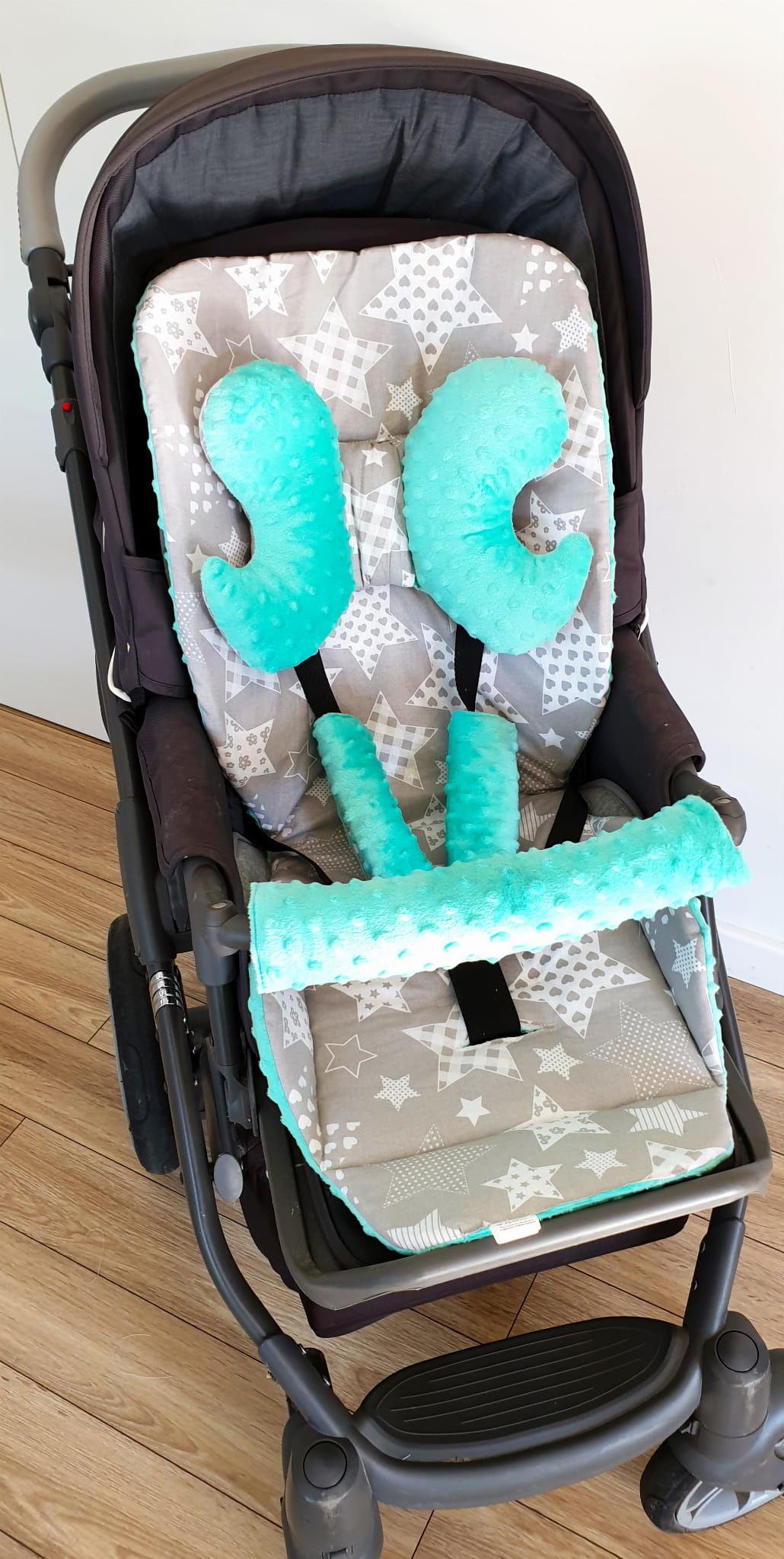 Wkładka do wózka, ochraniacze na pasy i pałąk + motylek duże gwiazdy