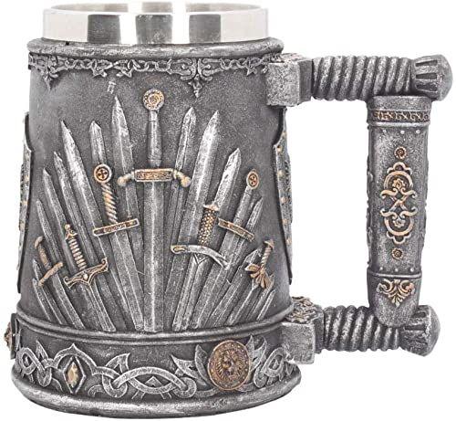 Nemesis Now Filiżanka z mieczem króla, 20 cm, kolor srebrny