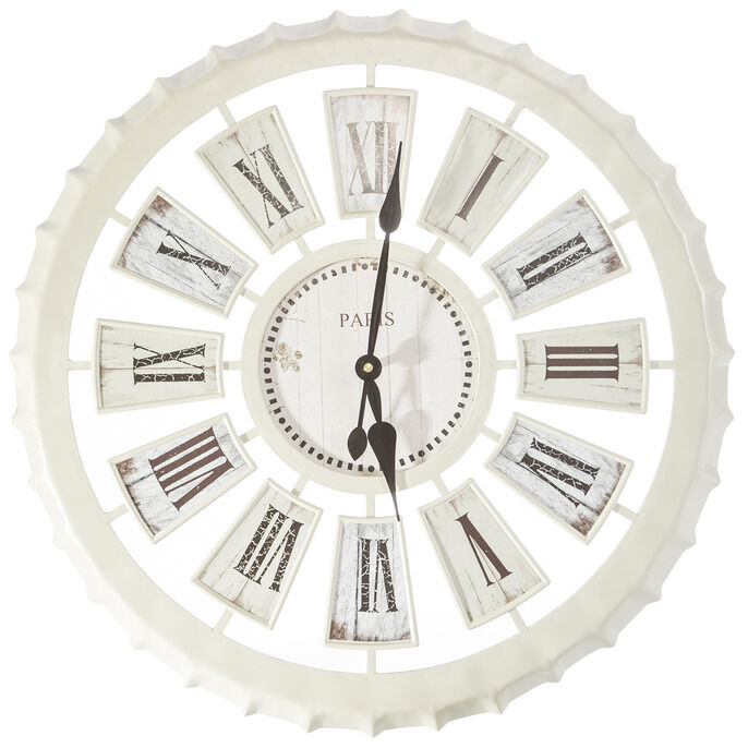 Zegar ścienny 60x60x5 Mandy 01 Paris kapsel kremowy Eurofirany