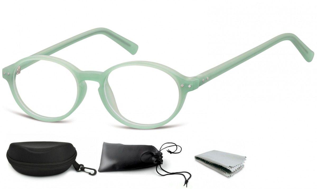 Okulary dziecięce zerówki okrągłe lenonki PK15F zielone