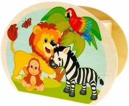 Hess drewniana zabawka 15217  skarbonka z drewna z kluczem, zwierzęta dżunglowe, prezent dla dzieci na urodziny, ok. 11,5 x 8,5 x 6,5 cm