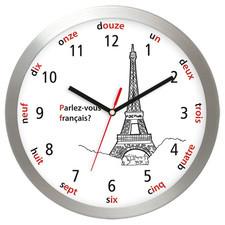 Aluminiowy zegar ścienny Wieża Eiffla