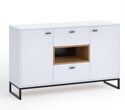 Oskar komoda ol-02 - biały/dąb artisan